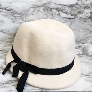 Urban Outfitters Ivory Fedora Hate With Black Bow